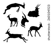 gazelle set of silhouettes...