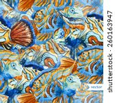 abstract  watercolor  fish ... | Shutterstock .eps vector #260163947
