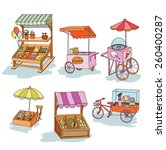 set of stall shop and cart ... | Shutterstock .eps vector #260400287