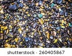 colorful pebbles touching wave... | Shutterstock . vector #260405867