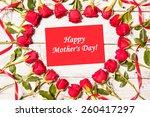 frame of fresh roses arranged... | Shutterstock . vector #260417297
