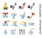 plumbing flat icons set | Shutterstock .eps vector #260425163