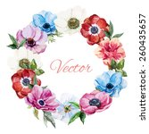 watercolor  wreath frame ... | Shutterstock .eps vector #260435657