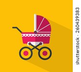 pink baby pram.  flat icon with ...   Shutterstock .eps vector #260439383
