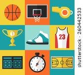vector set of basketball icons... | Shutterstock .eps vector #260442533