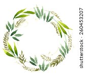 watercolor flowers wreath. hand ... | Shutterstock .eps vector #260453207