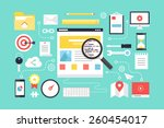 seo   web development. flat... | Shutterstock .eps vector #260454017