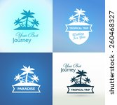 emblems with tropical island...