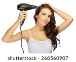 young girl with hair dryer... | Shutterstock . vector #260560907