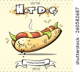 vector. hot dog. creative food... | Shutterstock .eps vector #260582687