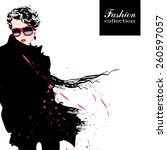 fashion girl in sketch style.... | Shutterstock .eps vector #260597057