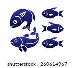 five stylized blue fishes... | Shutterstock .eps vector #260614967