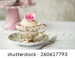 rose cupcake in a vintage teacup | Shutterstock . vector #260617793