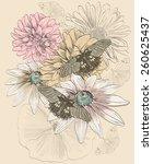 vector sketch of a butterflies... | Shutterstock .eps vector #260625437