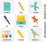 vector office supplies icons...