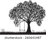 vector tree silhouette  flowers ... | Shutterstock .eps vector #260641487