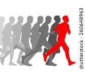 set of silhouettes. runners on... | Shutterstock .eps vector #260648963