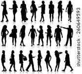 black silhouettes of beautiful... | Shutterstock .eps vector #260649593