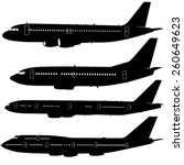 Set  Aircraft Silhouettes. ...