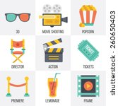 vector cinema icons set. flat...