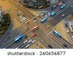 rush hour traffic zips through... | Shutterstock . vector #260656877