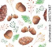 Watercolor Forest Pattern. Han...
