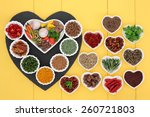 herb and spice ingredients on a ... | Shutterstock . vector #260721803