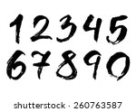 hand drawn brush stroke numbers | Shutterstock .eps vector #260763587