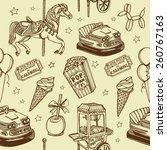 hand drawn luna park vintage... | Shutterstock .eps vector #260767163