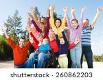 group of happy people smiling... | Shutterstock . vector #260862203