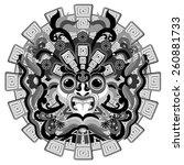 aztec sun mask | Shutterstock .eps vector #260881733