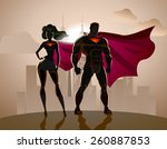 superhero couple  male and... | Shutterstock .eps vector #260887853