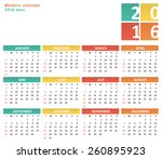 flat calendar for 2016 year  | Shutterstock .eps vector #260895923