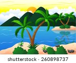 exotic beach and coconut island ... | Shutterstock . vector #260898737
