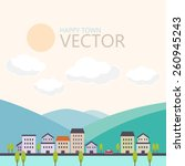 happy town vector  urban... | Shutterstock .eps vector #260945243