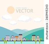 happy town vector  urban... | Shutterstock .eps vector #260945243