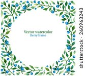 watercolor vector frame with... | Shutterstock .eps vector #260963243