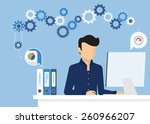man is working with computer.... | Shutterstock .eps vector #260966207