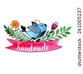 handmade. original custom hand...   Shutterstock .eps vector #261005237