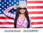 happy to be american. beautiful ... | Shutterstock . vector #261008987