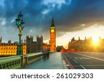 Big Ben At Sunset In London  Uk