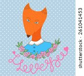 cute happy woman fox in polka... | Shutterstock .eps vector #261041453