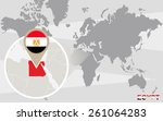 world map with magnified egypt. ... | Shutterstock .eps vector #261064283