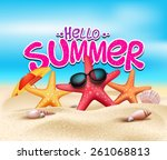 hello summer in beach seashore... | Shutterstock .eps vector #261068813