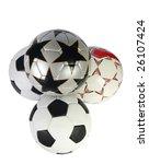 four soccer ball on a white... | Shutterstock . vector #26107424