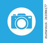 blue flat photo camera icon