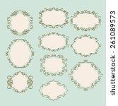 set of vintage doodle frames  | Shutterstock .eps vector #261089573