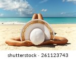 tanned young girl lying on the... | Shutterstock . vector #261123743