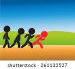 stick figure challenging... | Shutterstock .eps vector #261132527