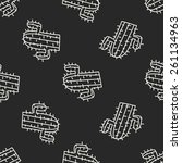 doodle cactus seamless pattern... | Shutterstock .eps vector #261134963